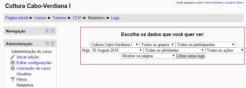 Formulário de filtro do log de acesso do curso no Moodle
