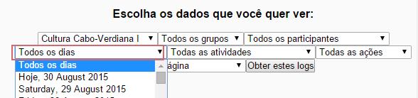 Desativar filtro de data no formulário de relatório de log