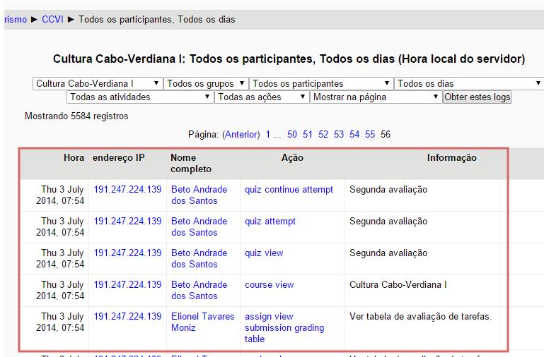 Relatório e log do curso ofertado no Moodle
