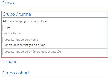 Filtro de grupo / turma no relatório