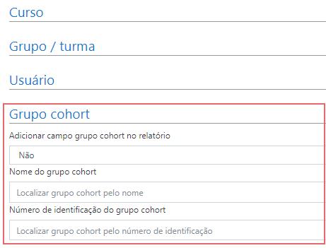 Formulário de filtro de grupo cohort