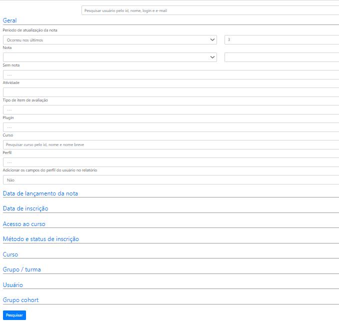 Formulário de filtro avançado do quadro geral de nota
